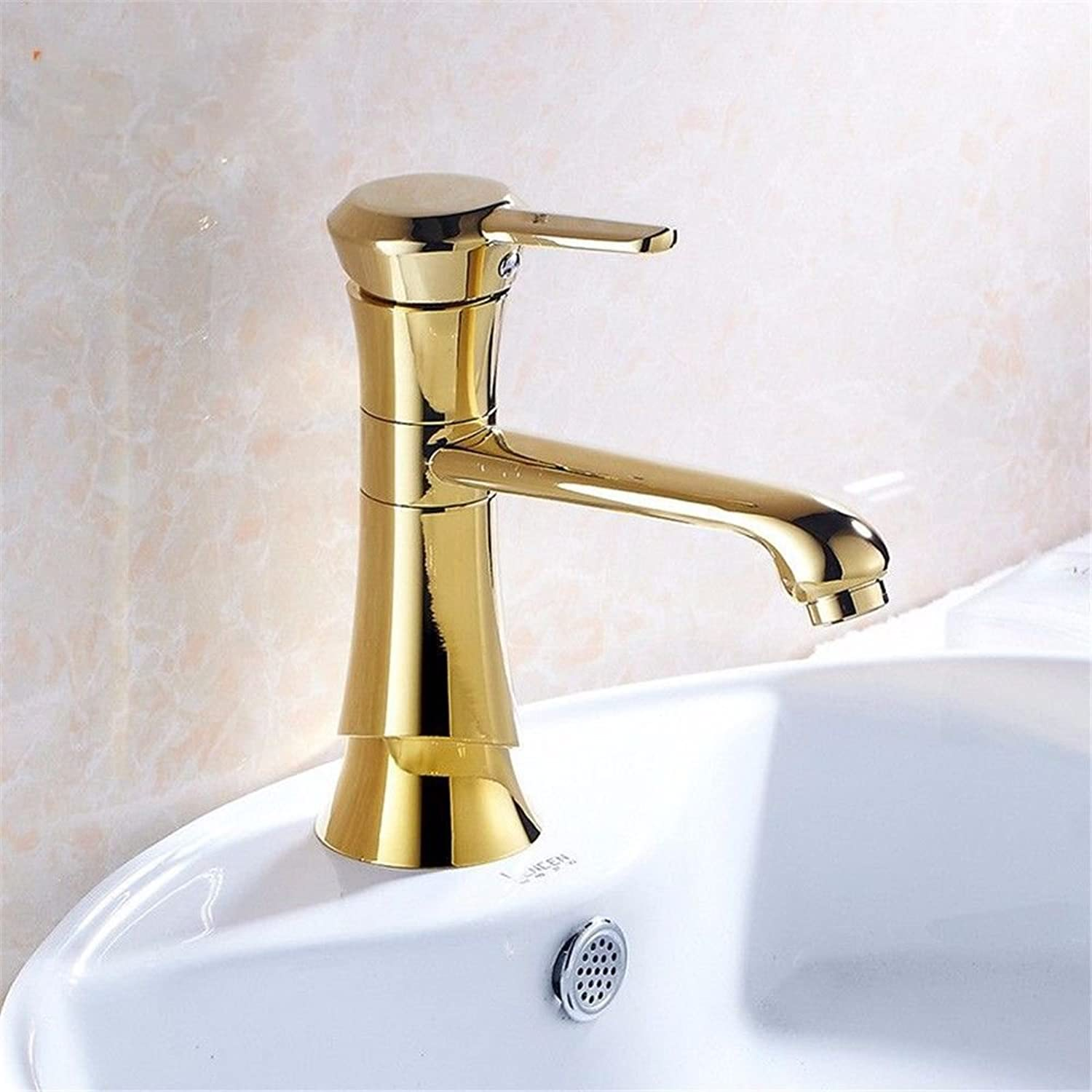Lpophy Bathroom Sink Mixer Taps Faucet Bath Waterfall Cold and Hot Water Tap for Washroom Bathroom and Kitchen golden Hot and Cold Square Single Handle Single Hole