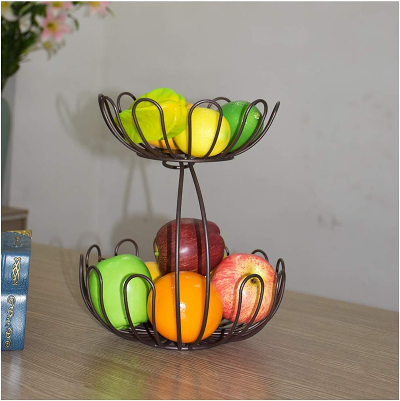 NIUZIMU Assiette de fruits Deux couches en forme de lotus fruits modernes simples panier de fruits ménage vidange -326 (Couleur   marron)