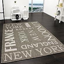 Paco Home Alfombra Moderna City Aspecto Sisal Tejido Liso Diseñador Alfombra En Gris, tamaño:80x150 cm