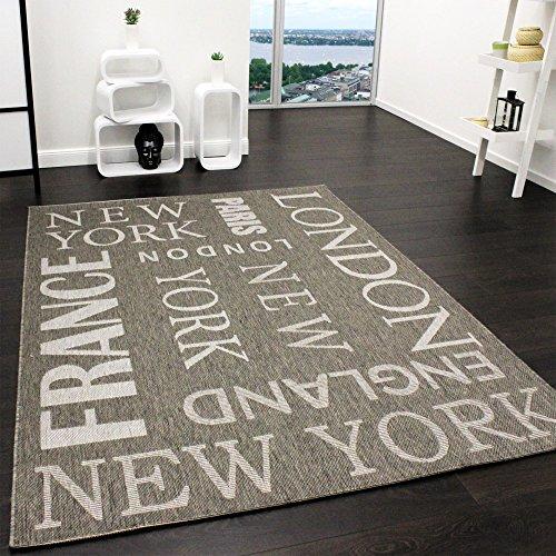 Paco Home In- & Outdoor Teppich Modern City Sisal Optik Flachgewebe Designer Teppich Grau, Grösse:80x200 cm