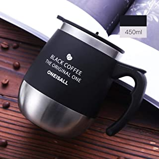Ellis Norman Business Coffee Thermos Mug Insulated Tea Thermos Cup Men Office Thermoses Cup Thermal Cup 450ml SUS 304 with Handle Office Cup,Black,450ml