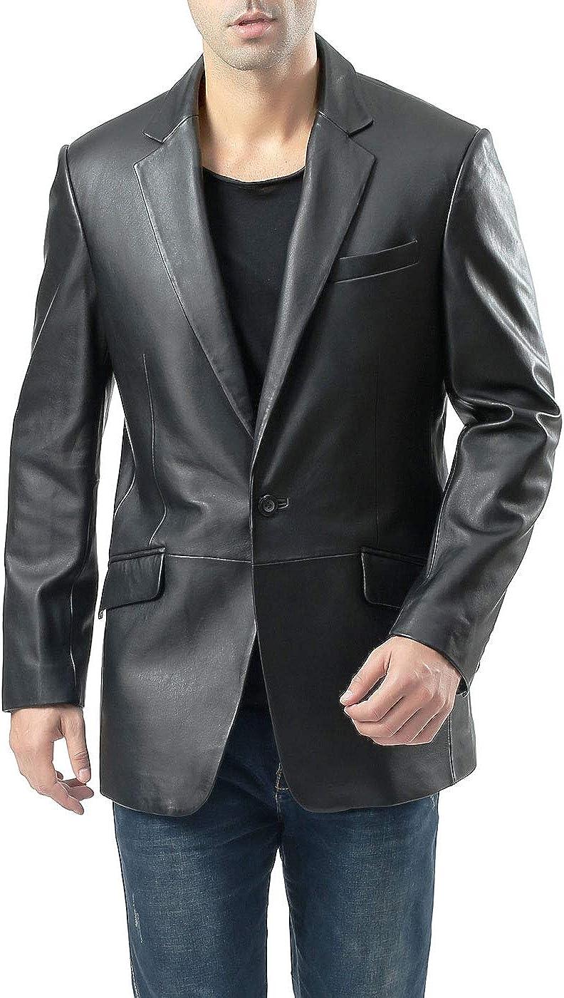 BGSD Men's John 1-Button Leather Blazer Lambskin Sport Coat Jacket Black Big and Tall 2XLT