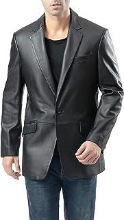 BGSD Men's John 1-Button Leather Blazer Lambskin Sport Coat Jacket (Regular, Big & Tall and Short)