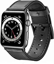 EAVAE Watch Bands Compatible with Apple Watch Bands 44mm 42mm,Black Gray Leather iWatch Bands for Apple Watch SE Apple Wat...