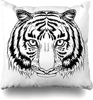 Not Applicable Funda De Almohada Cat Black White Tiger Head Tattoo Outline Drawing Emblem Face Ink Diseño Lineal Funda De Cojín Decoración para El Hogar Tamaño Cuadrado 45X45Cm Funda De Almohada