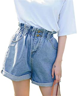 Women's High Waisted Denim Shorts Rolled Blue Jean Shorts