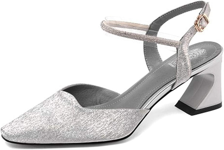 Yeenvan Silver High Heels shoes Buckle Wrap Cryal Ankle Wrap Sandals Woman Toe Summer Sandals 2019