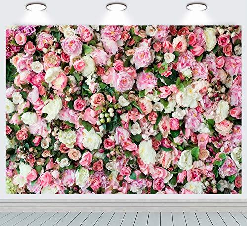 Ruini, telón de fondo de pared de poliéster, diseño floral, color rosa, flores de flores para recién nacido, para fiestas de bebé, retratos, fondos para fotos, decoración de bodas