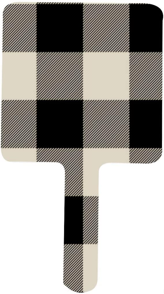 Rustic Black and Beige Buffalo Check Max 40% OFF Square Financial sales sale Mirror Hand Ma Plaid
