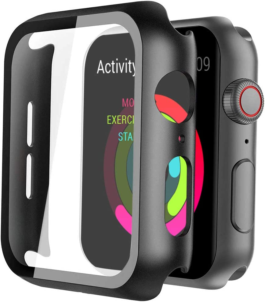 Black Hard Case Compatible with Apple Watch 44mm Series 6/5/4/SE with Screen Protector, Ultra Thin HD Tempered Glass Screen Protection Overall Protective Cover for iwatch Series 4/5