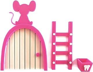 Ratoncito Pérez puerta rosa a su casita con escalera y cajita para diente. HECHO EN ESPAÑA: Amazon.es: Handmade