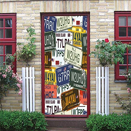 ZIJINJIAJU 3D Türaufkleber PVC Poster Kreativität, Farbe, Nummernschild 95X215CM DIY abnehmbare selbstklebende wasserdichte, leicht zu reinigende Haushaltsschlafzimmer Kinderzimmer Türaufkleber Poster