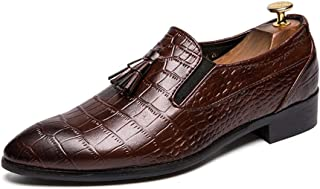 shangruiqi Men's Business Oxford Casual Classic Soft Pointed Toe Snakeskin Fringe Formal Shoes Abrasion Resistant (Color : Brown, Size : 6.5 UK)
