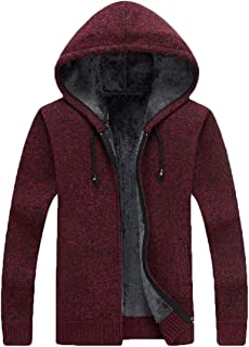 Mens Slim Fit Hooded Full Zip Up Fleece Lined Cardigan Sweaters with Pockets