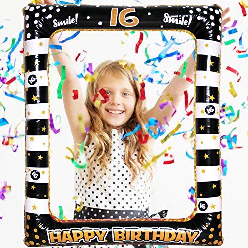 Seasons Stars SSDecor - Marco de fotos hinchable para 16 cumpleaños, color negro y dorado