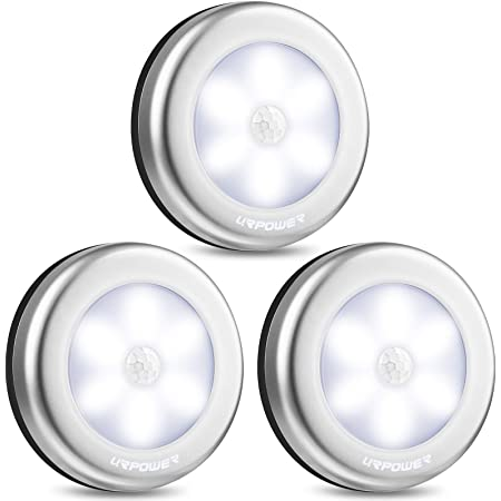 URPOWER Closet Lights, Motion Sensor Light Indoor, Battery Powered LED Closet Lights, Stick on Anywhere Motion Night Lights, Stair Lights, Wall Lights for Hallway, Bedroom, Kitchen (White-3 Pack)