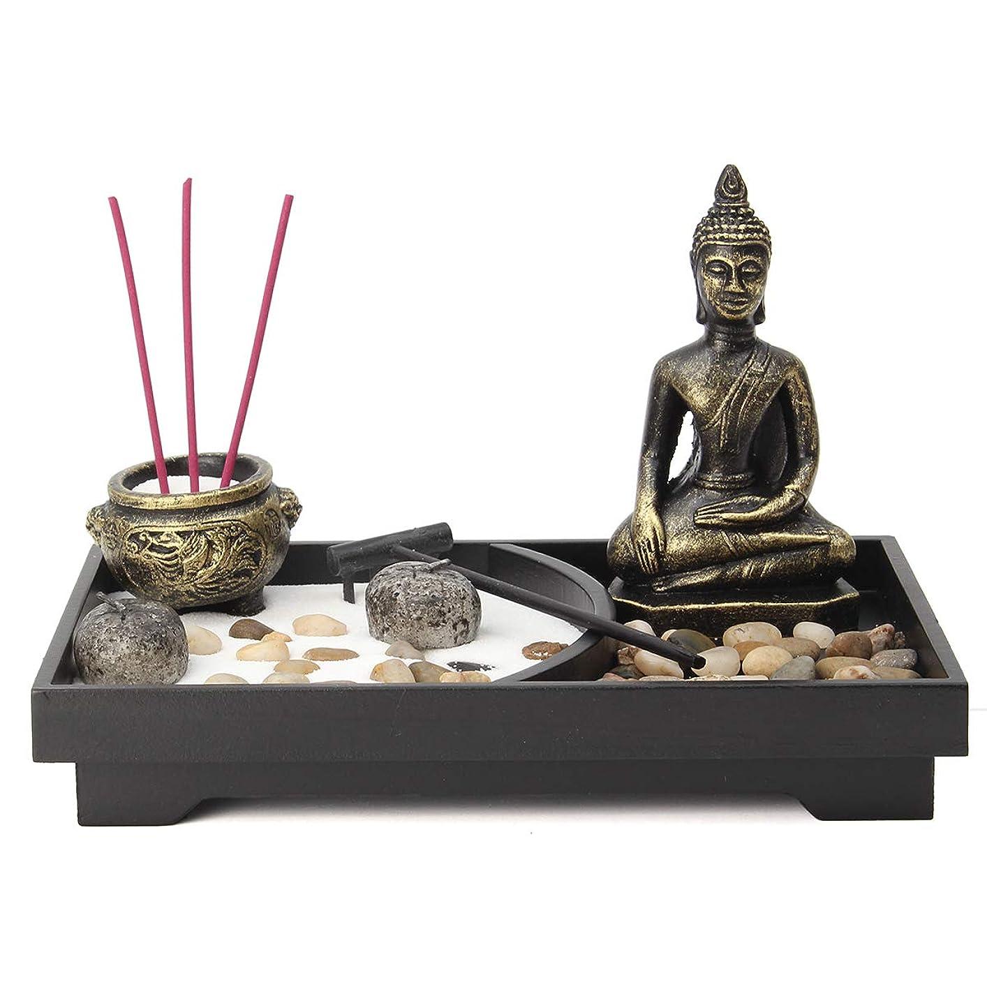 ポーク通信する促すjeteven Buddha Statue Incense Holder Mini瞑想Zen Garden withワックス、お香バーナーホルダースティックホームDecor & Handicraft、8.82?