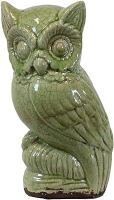 Urban Trends 76379-UT Decorative Ceramic Owl Green