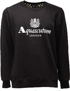 Aquascutum 2538AE Felpa Uomo Black Cotton Sweatshirt Man