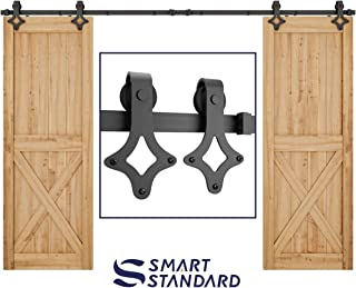 10ft Heavy Duty Sturdy Double Door Sliding Barn Door Hardware Kit - Super Smoothly and Quietly - Simple and Easy to Install - Includes Step-by-Step Instruction -Fit 30