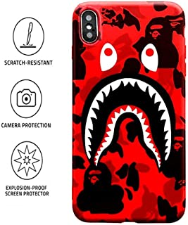 Kplvet Xs-Max iPhone Case,Embossed Craft Non Slip Non Faded Durable Coloring Slim Thin Soft 6.5 iPhone Xs Max Case,Street Fashion Trend iPhone-Case Designer Basic Protective Phone Cover (Red ShaYu)