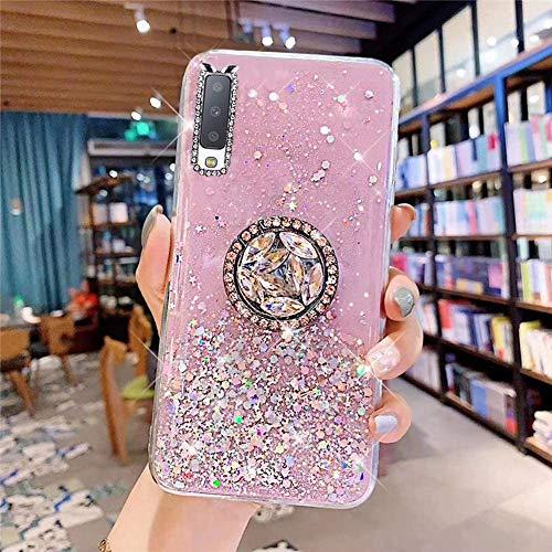 Samsung Galaxy A7 2018 Coque Transparent Glitter avec Support Bague,étoilé Bling Paillettes Motif Silicone Gel TPU Housse de Protection Ultra Mince Clair Souple Case pour Galaxy A7 2018,Rose