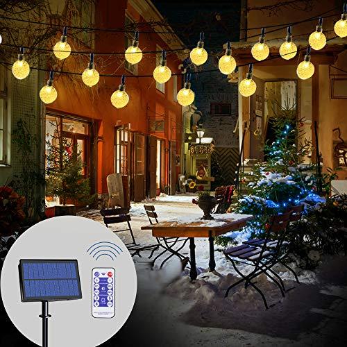 LED Solar Lichterkette Garten| infinitoo 6M 40 LED Solar Beleuchtung Lichterketten Kristall Kugeln mit Fernbedienung| Warmweiß, 14-30 Stunden, 8 Modi Wasserdicht, Deko für Terrasse, Hochzeiten, Partys