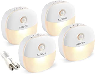 AUVON Rechargeable Mini Motion Sensor Night Light, 2nd Gen Warm White LED Stick-On Closet Light with Dusk to Dawn Sensor, ...
