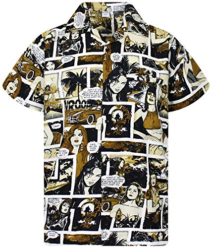 King Kameha Funky Hawaiihemd, Comic, monosepia, XL