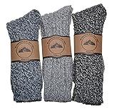 3 Pairs of Thick Warm Socks Wool Blend Boot Socks Walking Grey Size
