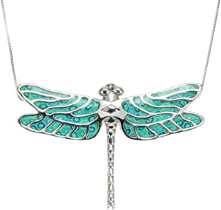 925 Sterling Silver Dragonfly Necklace Pendant Handmade Polymer Clay Jewelry, 16.5