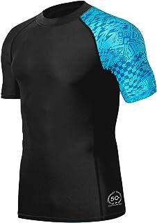 HUGE SPORTS Men's Splice UV Sun Protection UPF 50+ Skins Rash Guard Short Sleeves