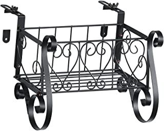 Collections Black Iron Scrollwork Deck Rail Planter Box with Adjustable Brackets, Small