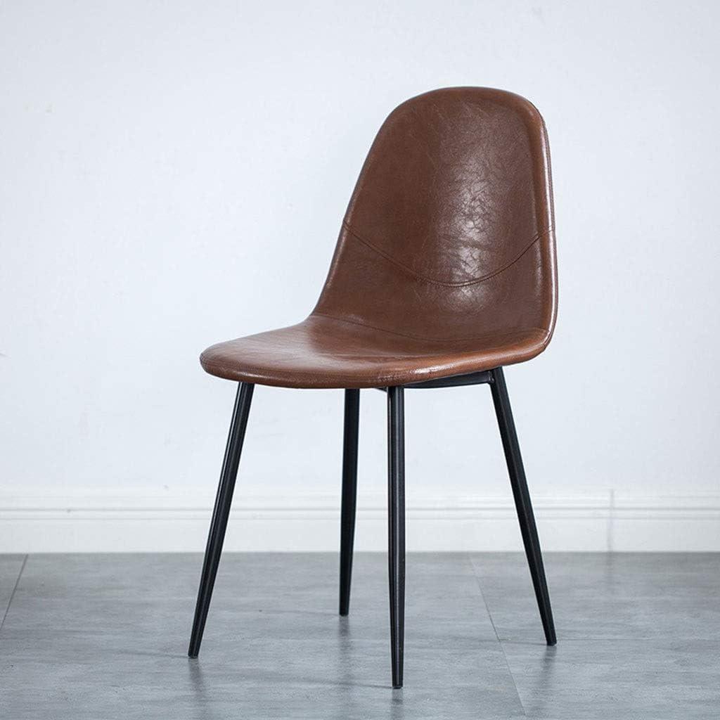 LSRRYD Rétro Chaise Cuisine Leather & Wrought Iron pour Maison Bureau Lounge (Couleur : Orange) Brown