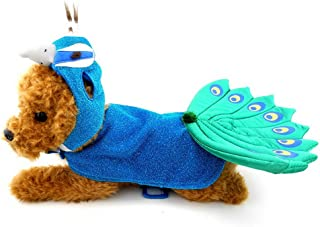 SMALLLEE_Lucky_Store Animal Peacock Dog Costume with Adjustable Hat & Cape Blue, for Small Dog Under 20 pounds