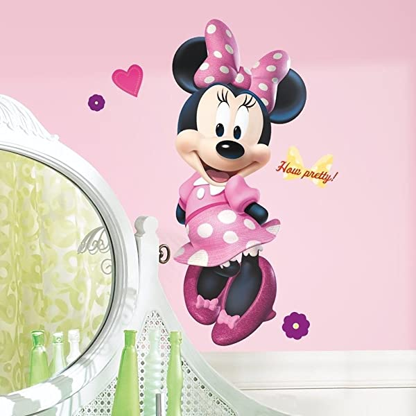 MINNIE MOUSE BOW TIQUE 40 Giant WALL DECAL Disney Room Stickers Pink Decor