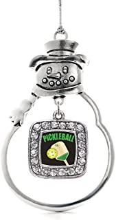 Inspired Silver - Pickleball Charm Ornament - Silver Square Charm Snowman Ornament with Cubic Zirconia Jewelry