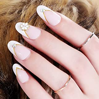 Aegenacess 24Pcs False Nails Medium Oval Fake Design Pink Flower White Shiny Press On Gel Nail Acrylic Artificial Manicure Tips French With Two Double Sided Stickers for Women and Girls