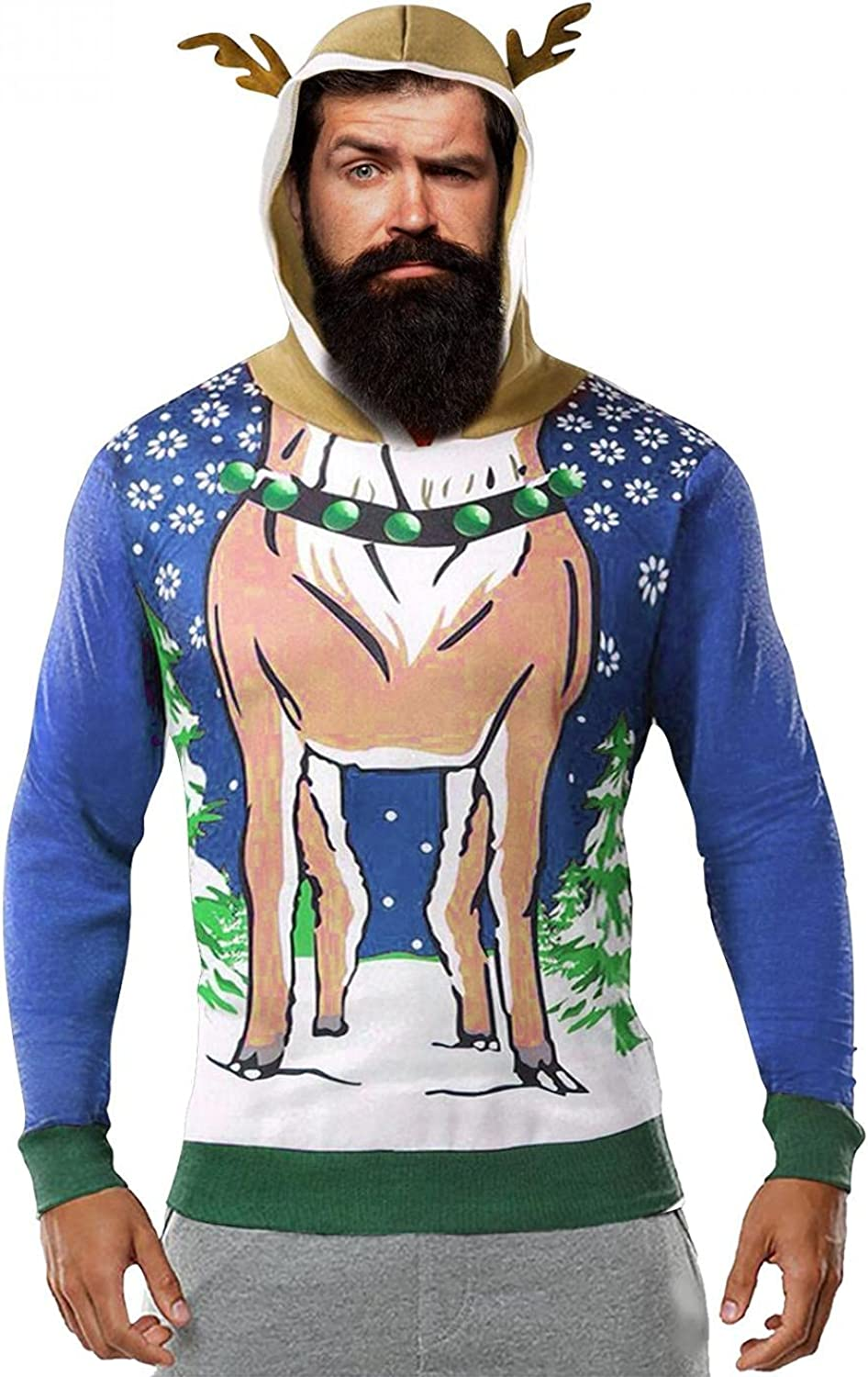 PHSHY Unisex Ugly Christmas Sweater Mens Knit Hoodies Funny Tacky Christmas Tree Reindeer Snowflake Pullover Tops