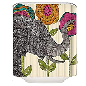 ENJOHOS Fabric Shower Curtains Elephant Bohemian Print Design Waterproof Decorative Bathroom Curtain for Indoor Outdoor,71 x 71 Inch (Elephant 2)