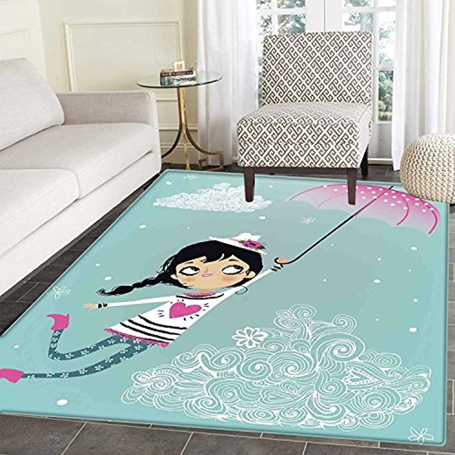 Girls Area Mat Carpet Flying Girl with a Pink Umbrella and a Floral Hat Doodle Style Curly Cloud Motifs Living Dinning Room and Bedroom Mats 3'x4' Multicolor
