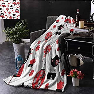 Bed Blanket Geisha Japanese Fan Ancient Chinese Traditional Tea Pot Lanterns Floral Graphic Desi Extra Cozy, Machine Washable, Comfortable Home Decor 60