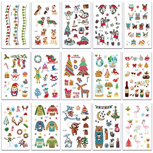 SZSMART Weihnachts Tattoos Set für Kinder, Xmas Temporäre Tattoo Kindertattoos Gefälschte Aufkleber Kindergeburtstag Party Weihnachten Party Favor Zubehör Supplies
