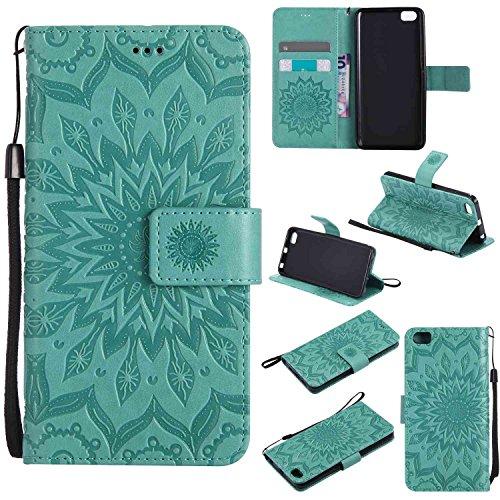 pinlu® Flip Funda de Cuero para Xiaomi Mi5 Carcasa con Función de Stent y Ranuras con Patrón de Girasol Cover (Verde)