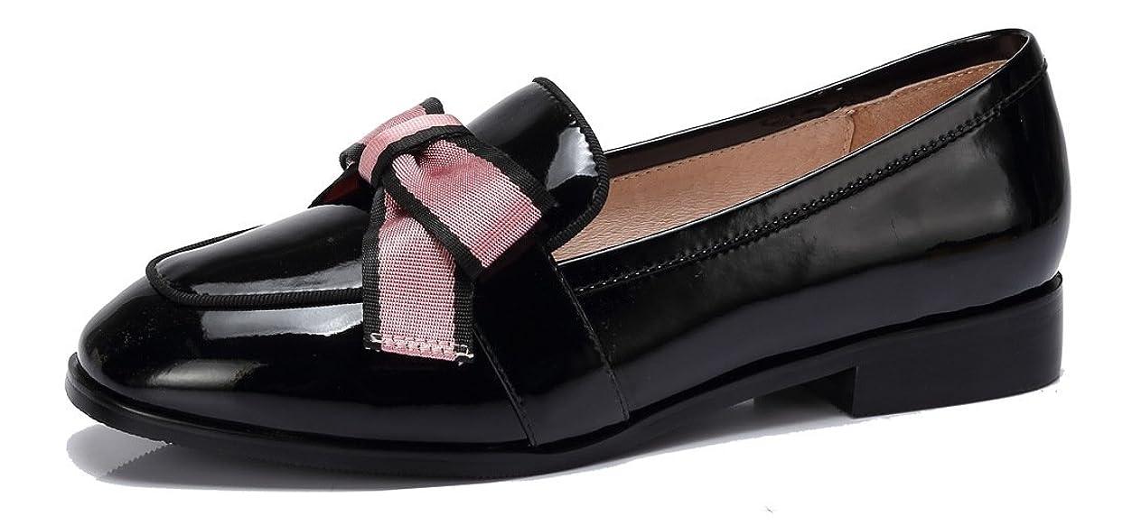 ゾーン恒久的毎週[CAMEL CROWN] ローファー 学生靴 フラット パンプス レディース カジュアルシューズ通勤靴 合皮 リボン 可愛い 防水 通学 歩きやすい カジュアル