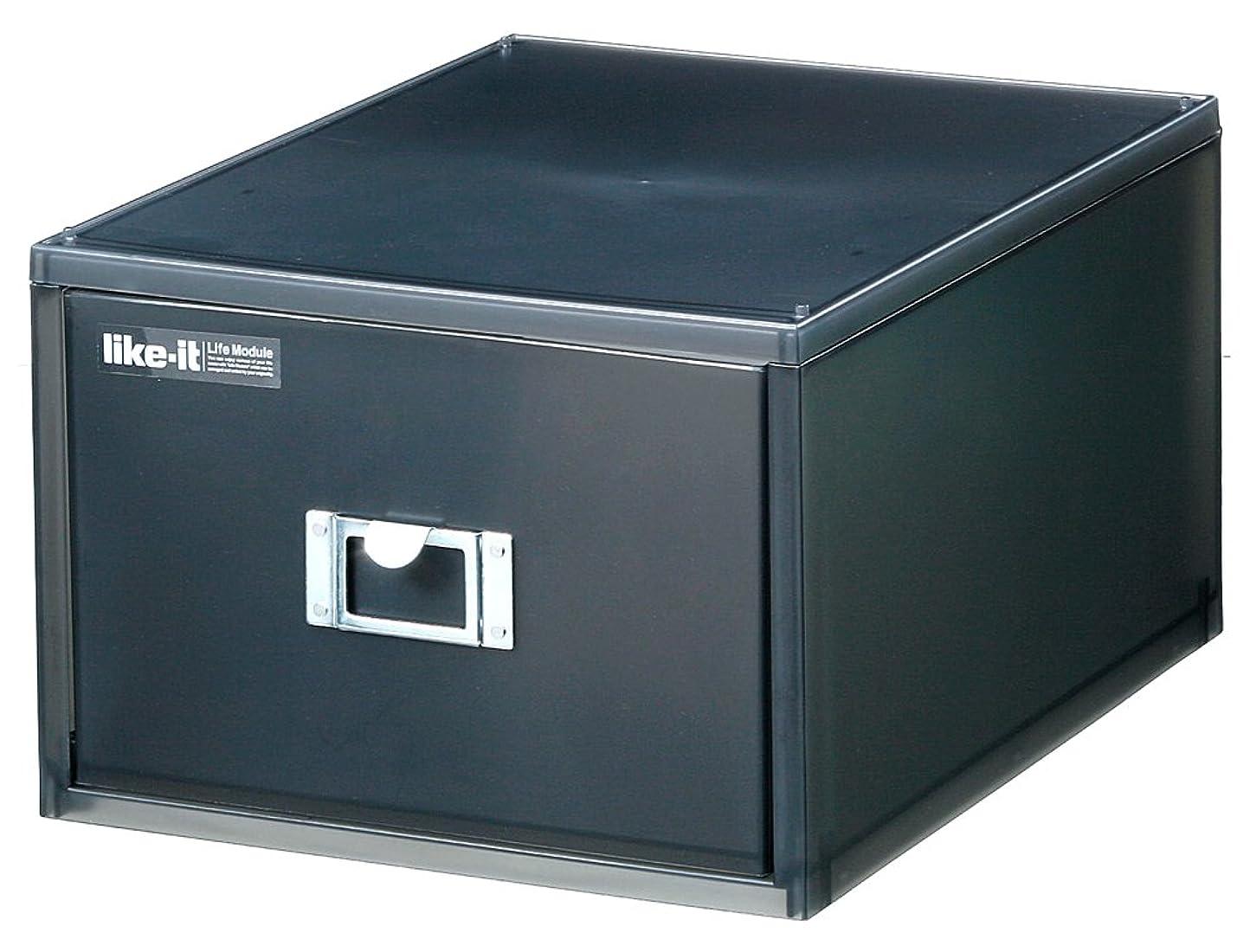 最も早い尽きる床like-it 小物収納 DVD A4 書類ケース 深型 1段 ブラック 幅26x奥35x高18.2cm LM-40