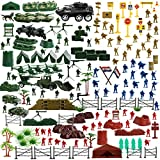 IQ Toys Army Action Figures Military Set, Toy Soldier Playset, Tanks, Planes, Flags Accessories Army Base for Boys - 200 Pieces