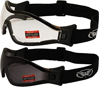 Global Vision 2 Pair Z-33 Foam Padded Anti-Fog Skydiving...