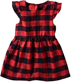 snowvirtuosau Cute Baby Girls Plaid Print Flying Sleeve Dress O-Neck Summer Kids Dresses