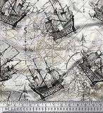 Soimoi Grau Seide Stoff Kompass Schiff & Richtung nautisch